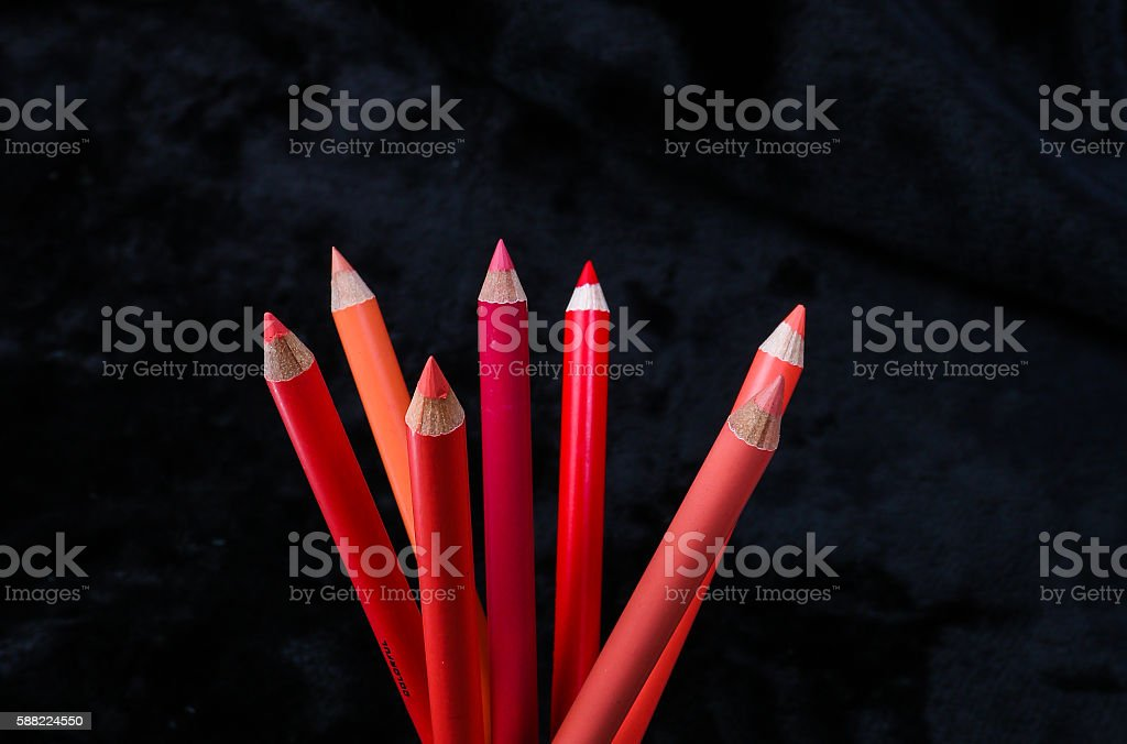 red lip liners stock photo