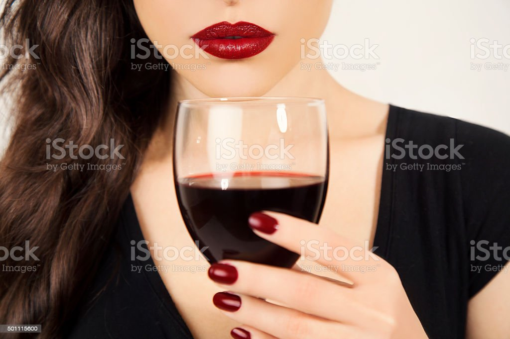 red lips and wine stock photo