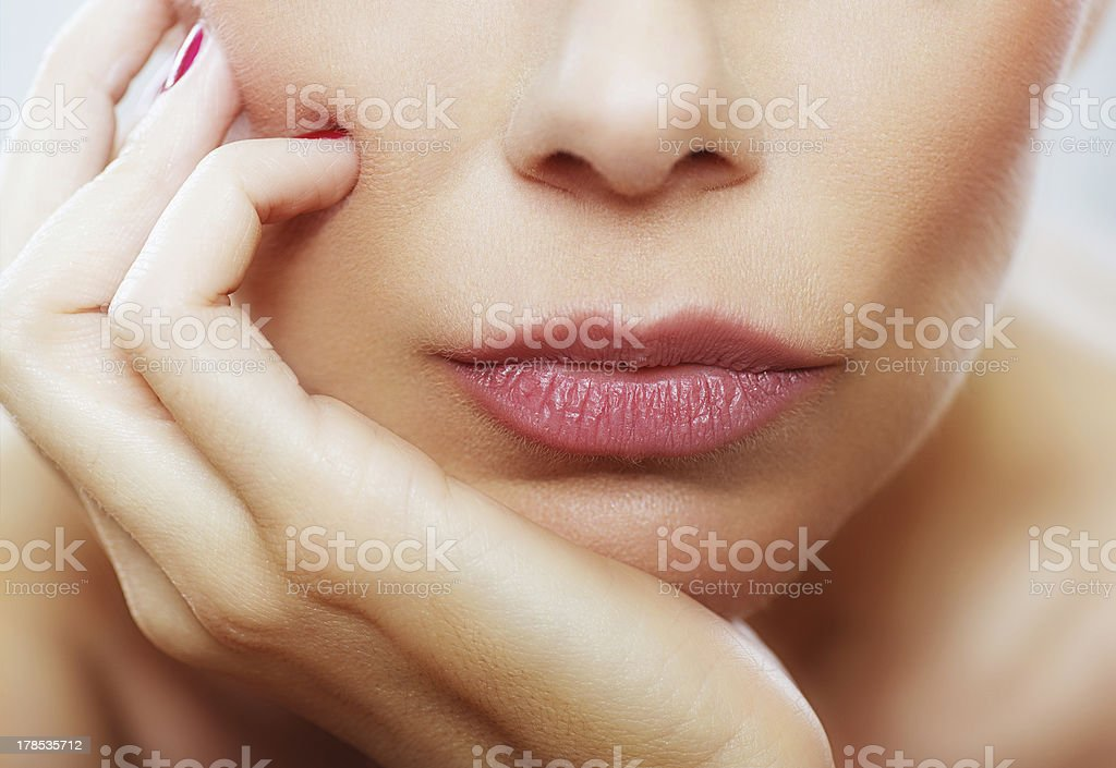 Red lips close up royalty-free stock photo