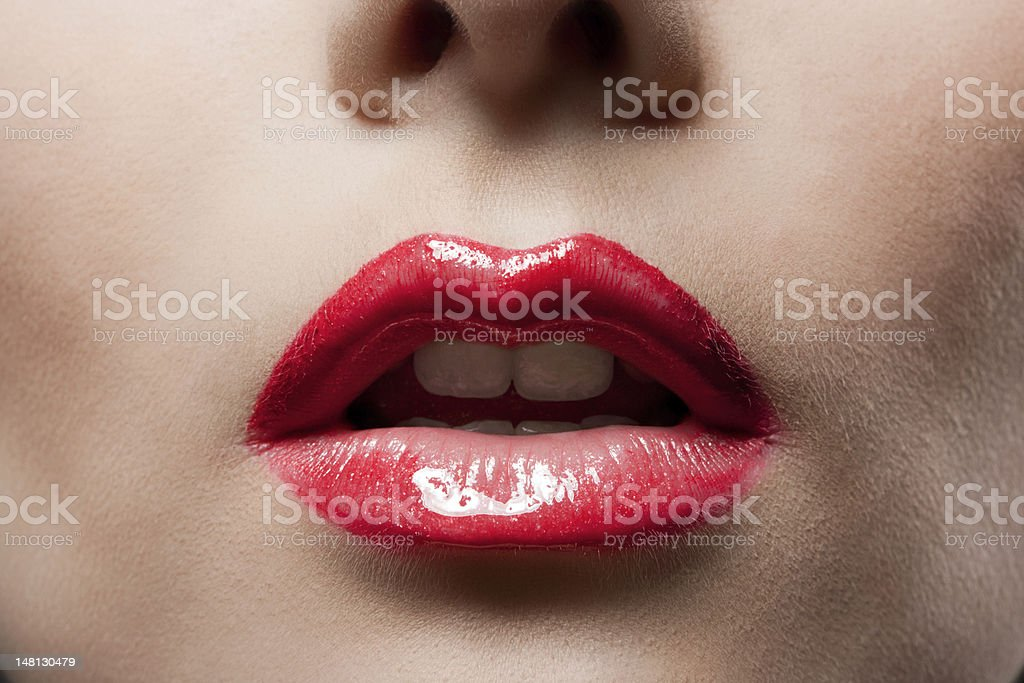 red lips closeup royalty-free stock photo