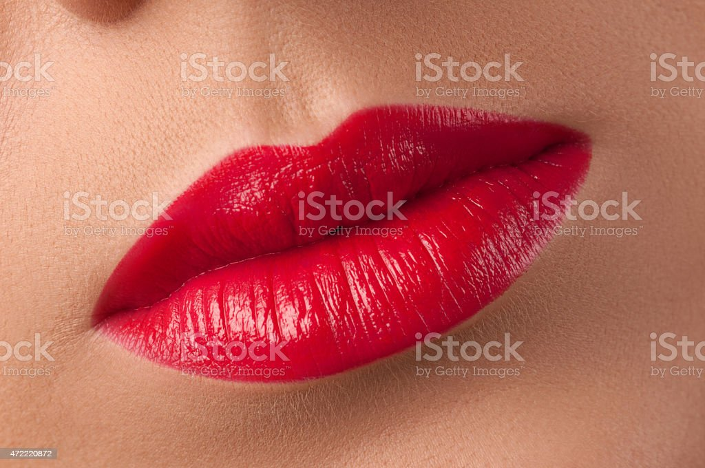 Red lips . Fashionable and stylish lipstick. stock photo