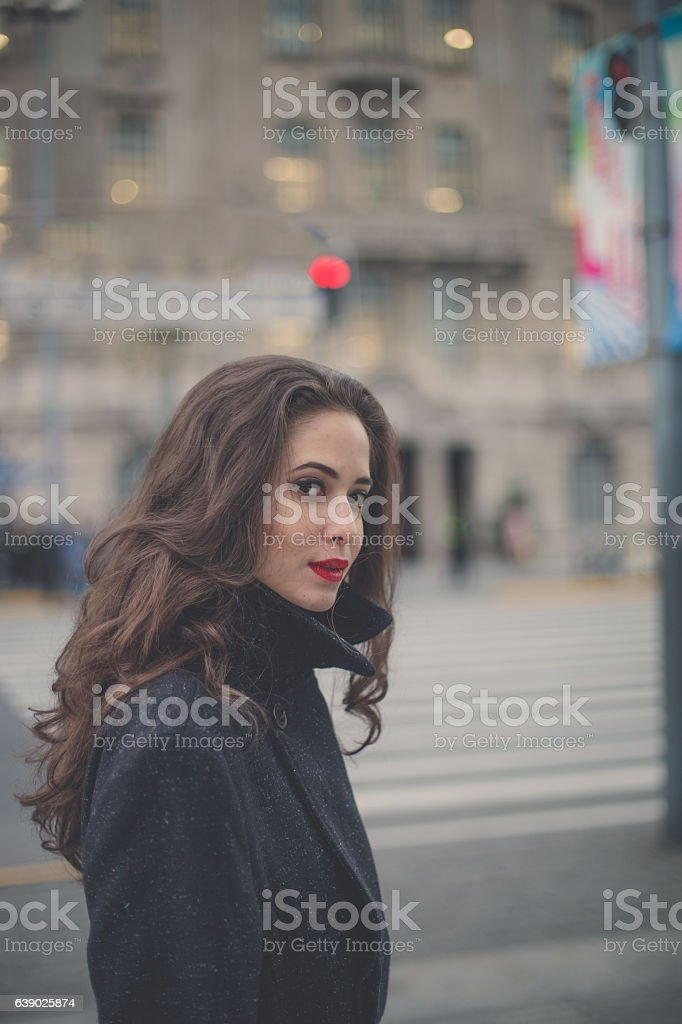 Red lips girl stock photo
