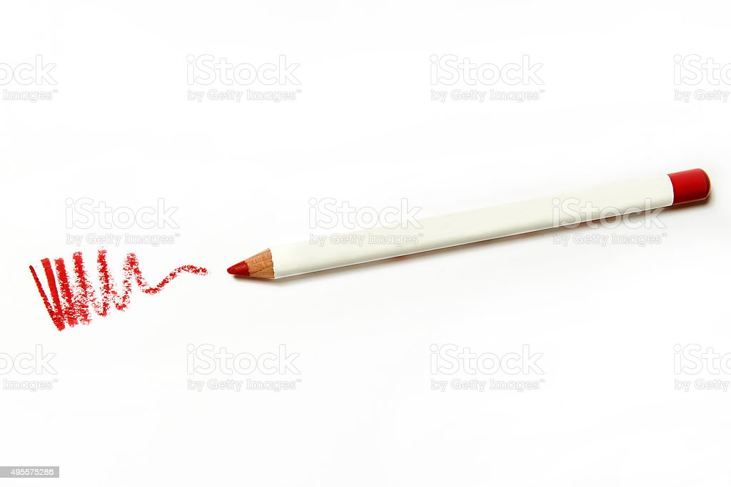 red lips pencil on white background stock photo