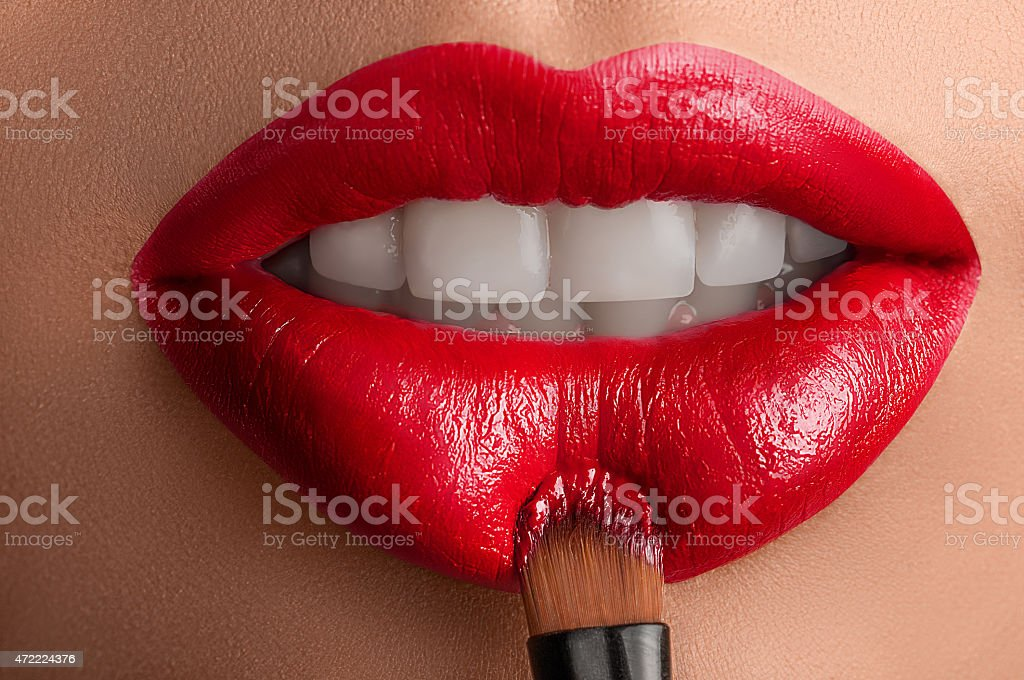 Red lips . stock photo