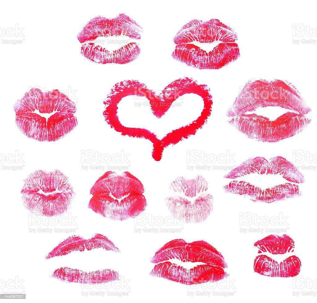 Red lips prints stock photo