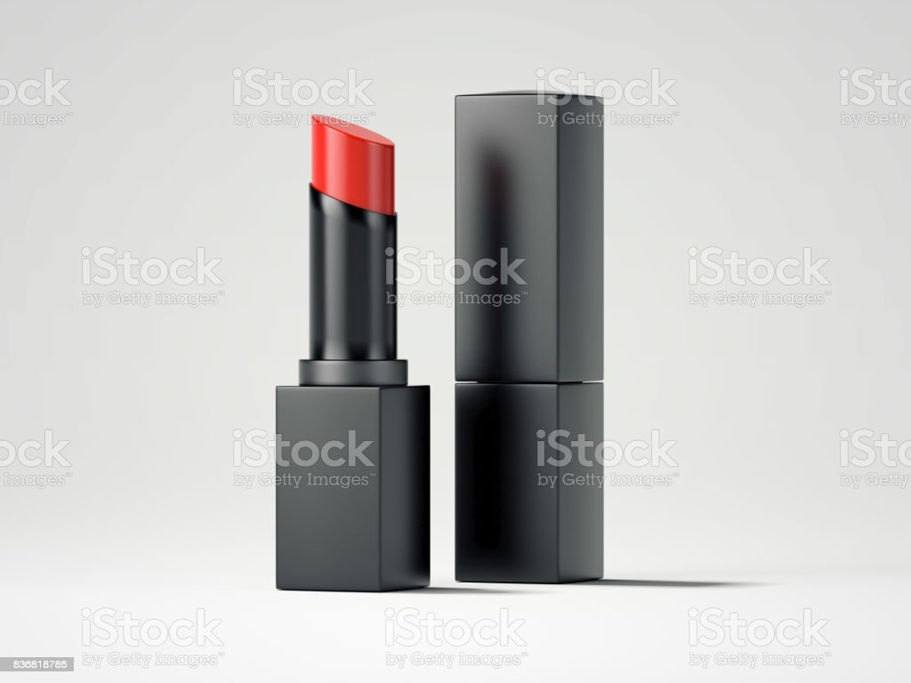 Red lipstick and black box. 3d rendering stock photo