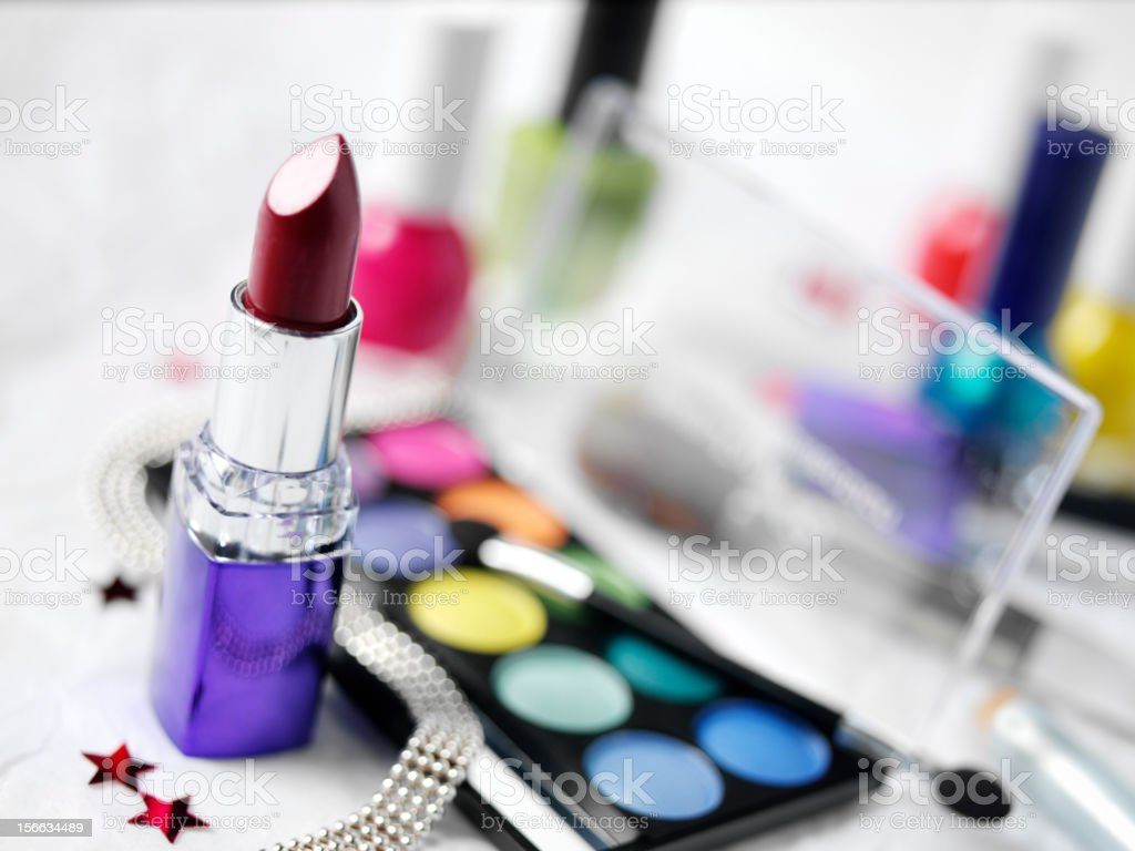 Red Lipstick and Eye Make Up royalty-free stock photo