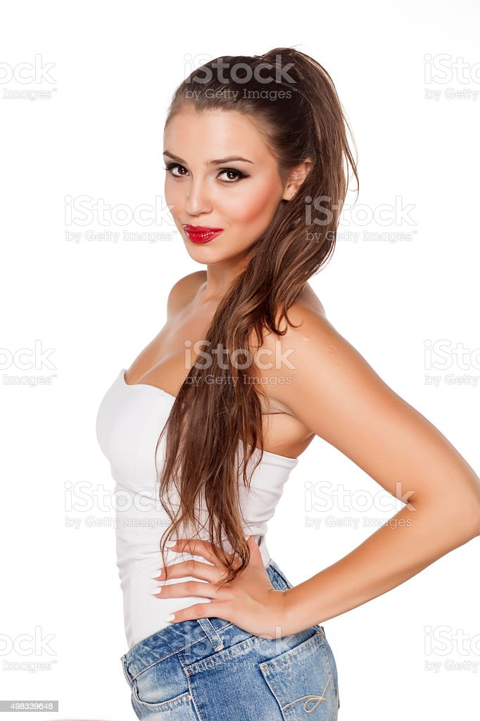 red lipstick and jeans stock photo