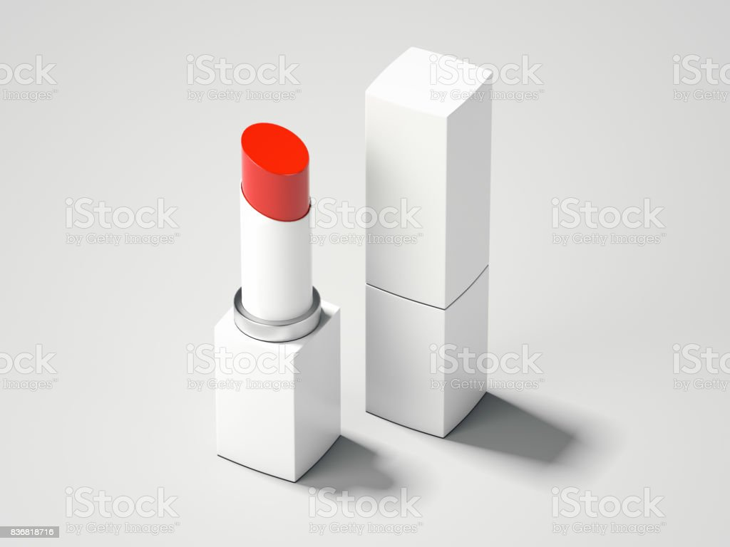 Red lipstick and white box. 3d rendering stock photo