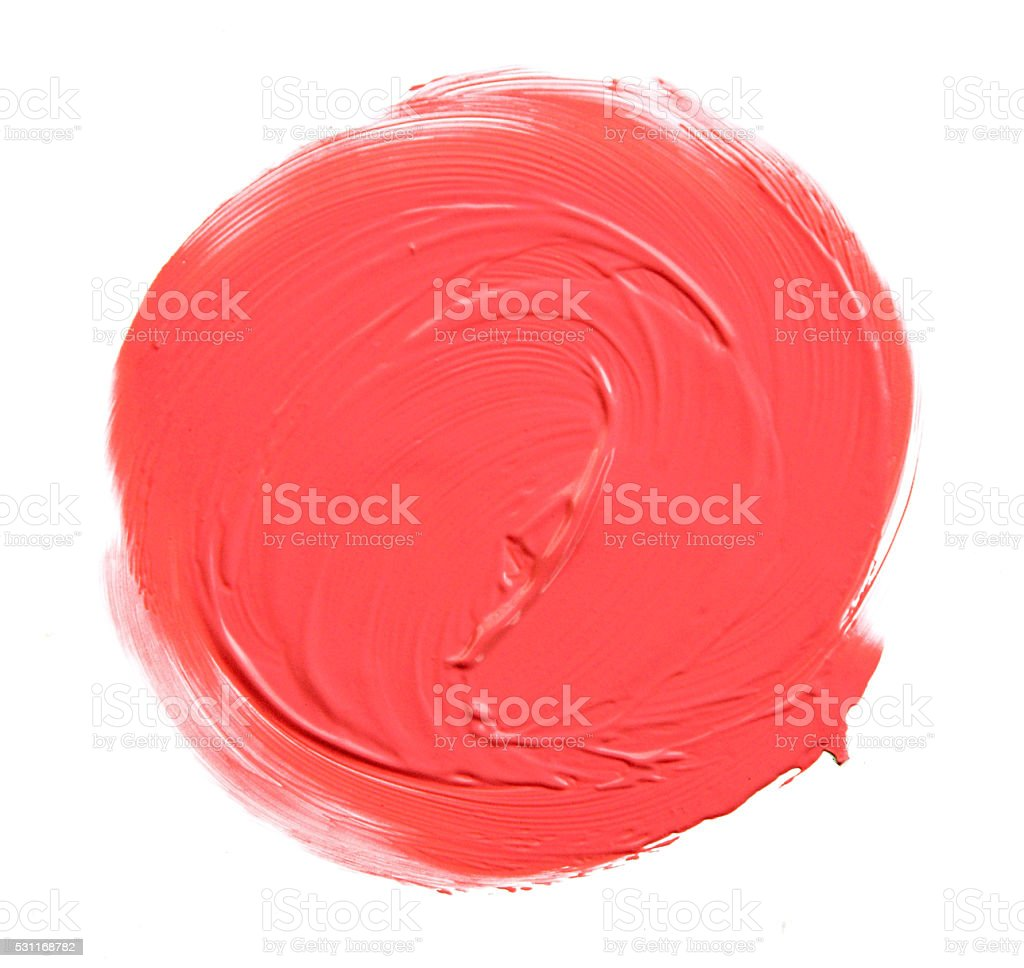 red lipstick circle shape isolated on white background stock photo