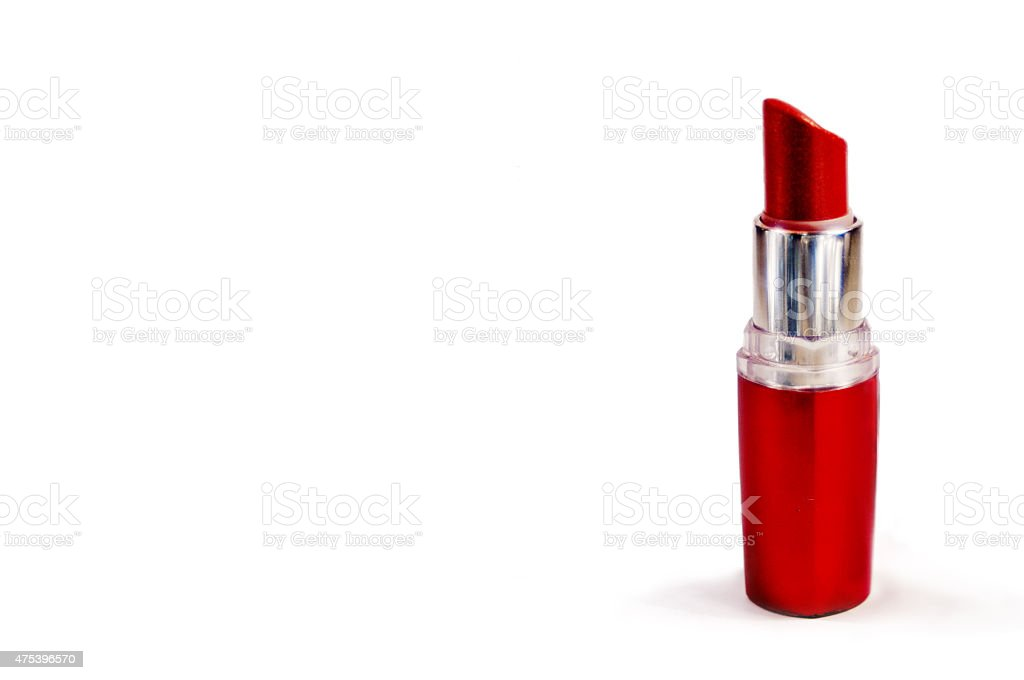 red lipstick isoleted on white background stock photo