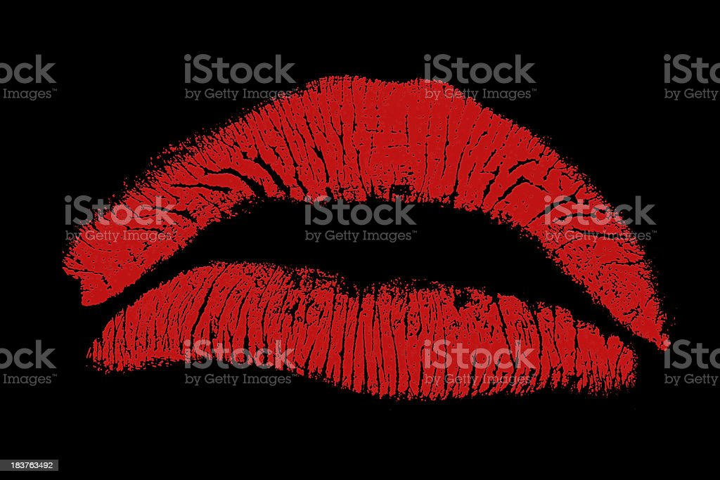 Red Lipstick Kiss With Black Background stock photo