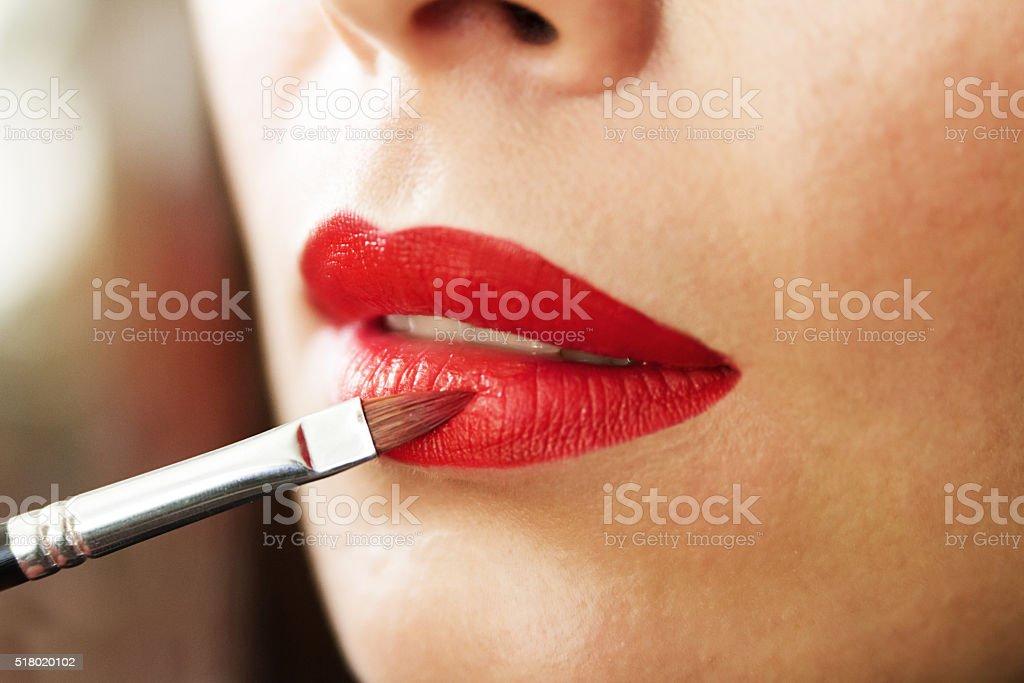 red lipstick, lips, makeup artist work stock photo
