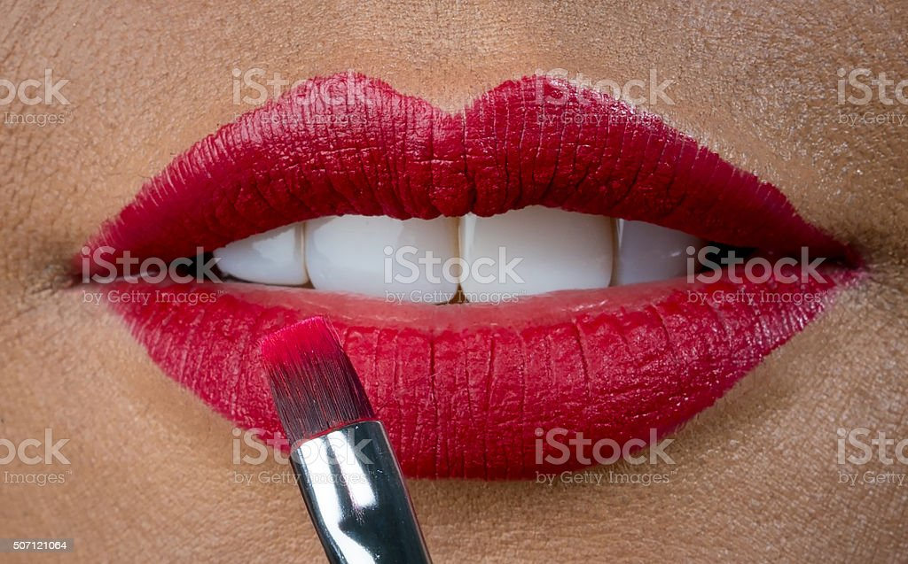 Red lipstick - makeup concepts stock photo
