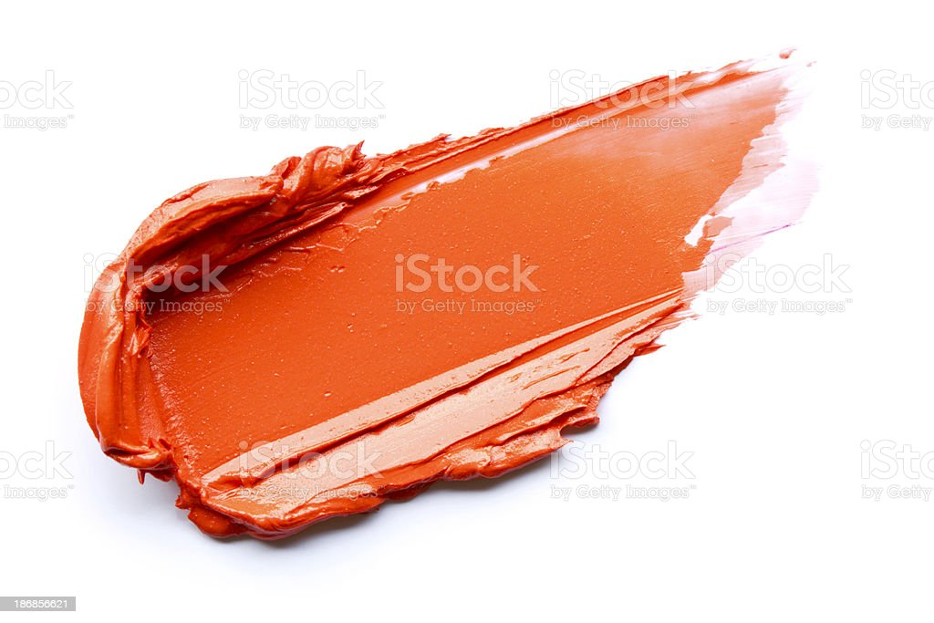 Red lipstick smeared stock photo