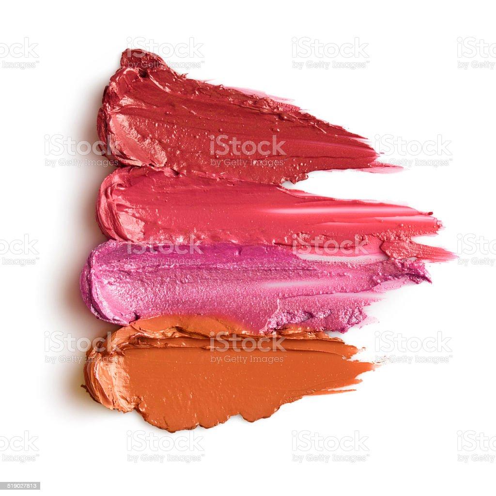 Red lipstick smears stock photo