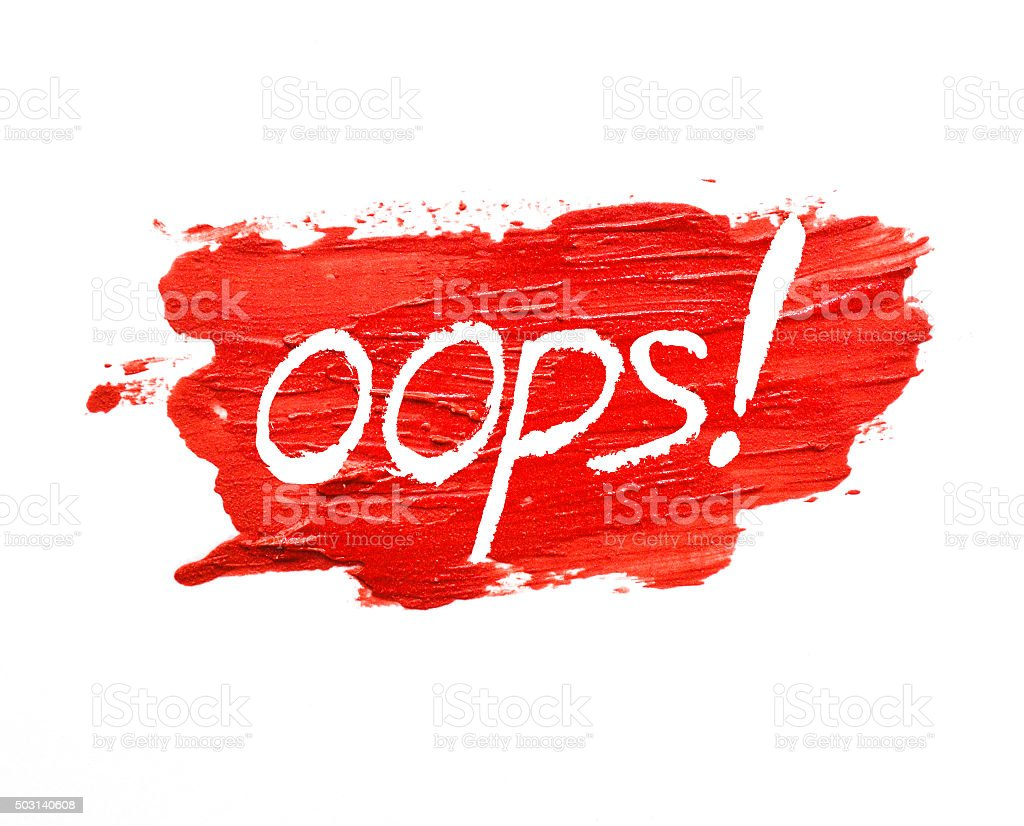 red lipstick stroke on white background with 'oops' stock photo