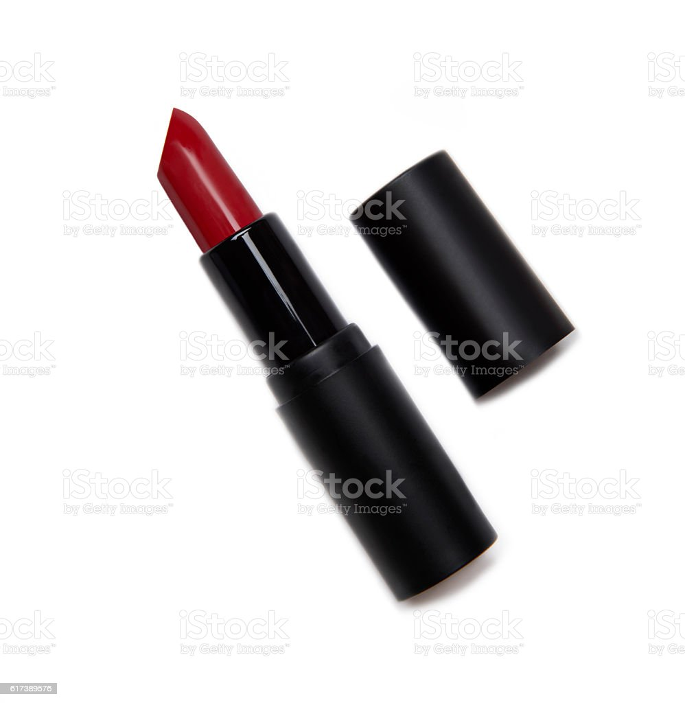 red lipstick with black package on white background stock photo