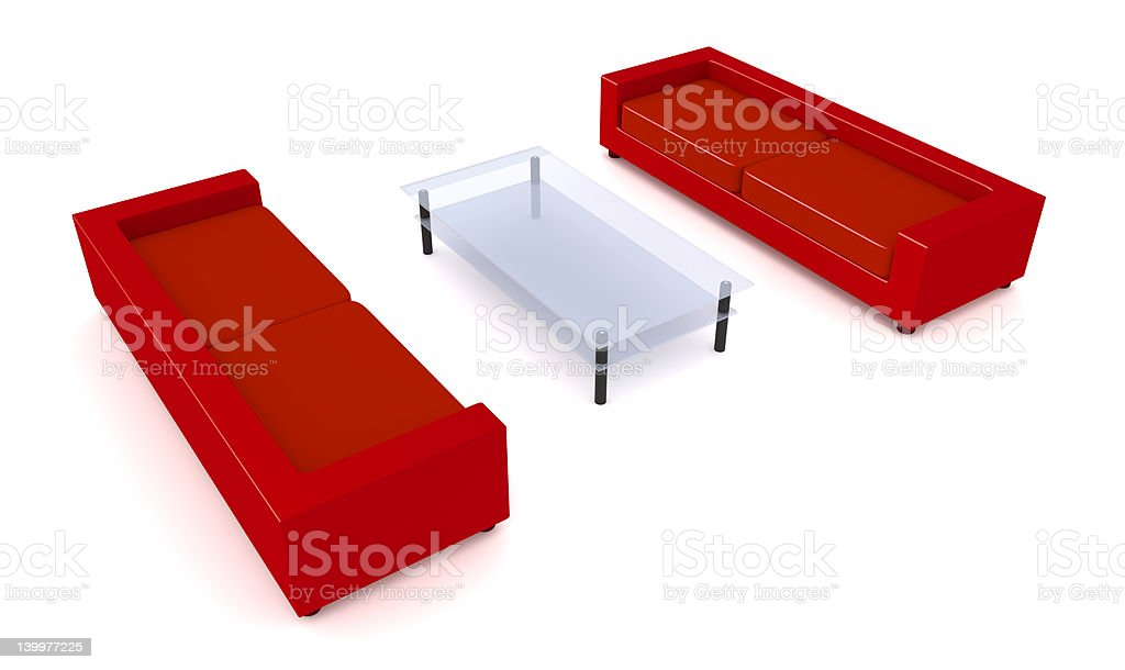 Red Livingroom Furniture royalty-free stock photo