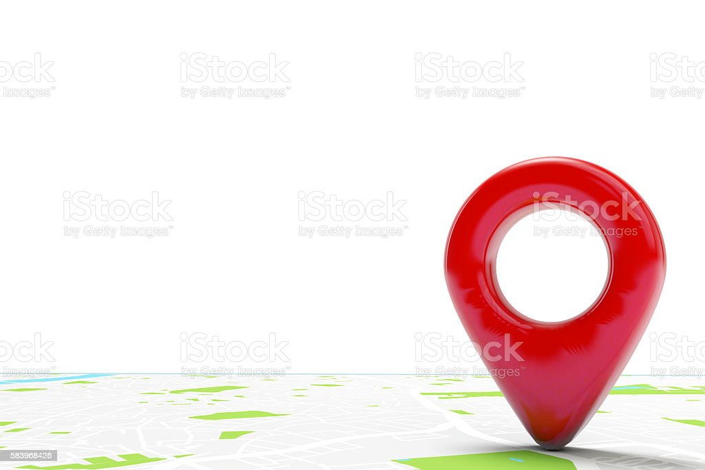 Red location marker on a city map stock photo