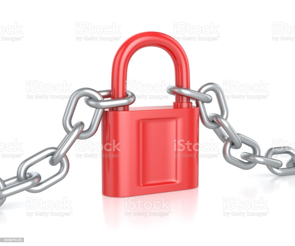 Red lock with chain stock photo