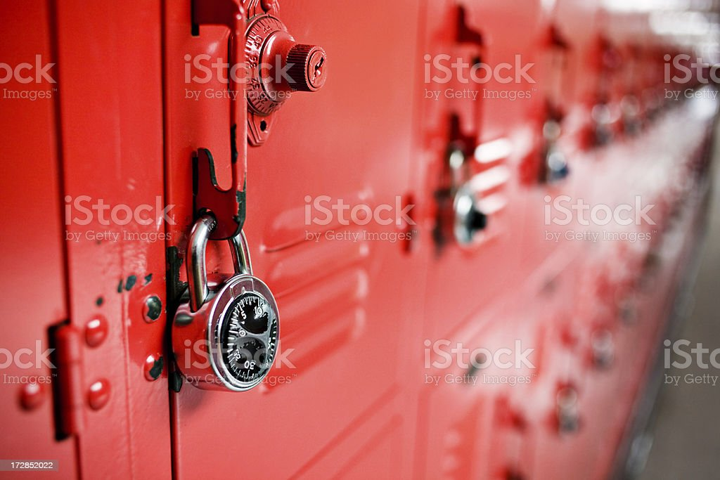 red lockers (long view) royalty-free stock photo