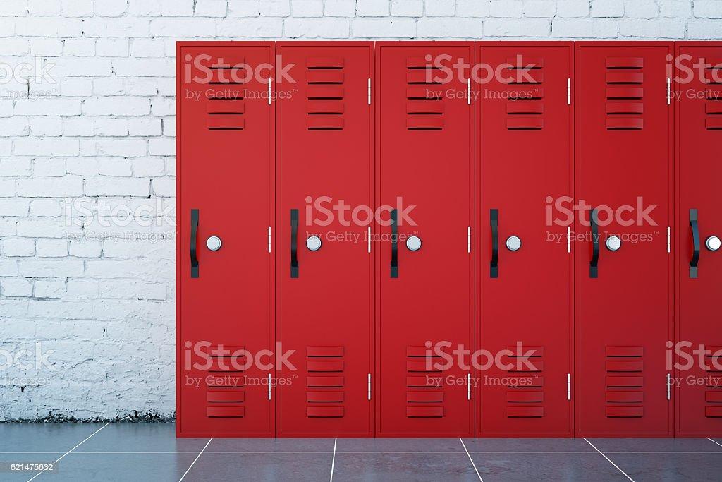 Red lockers stock photo