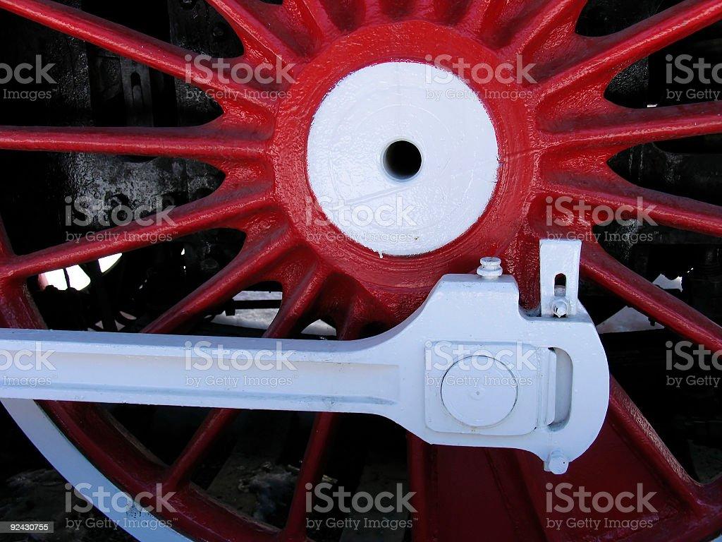 Red locomotive wheel royalty-free stock photo