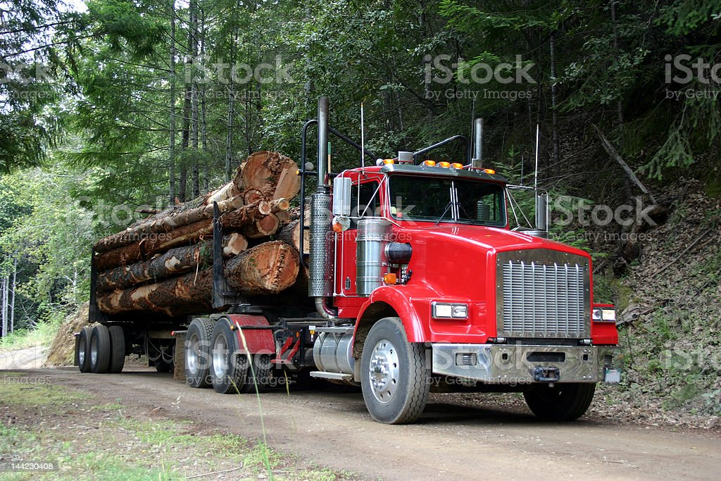 red log truck stock photo