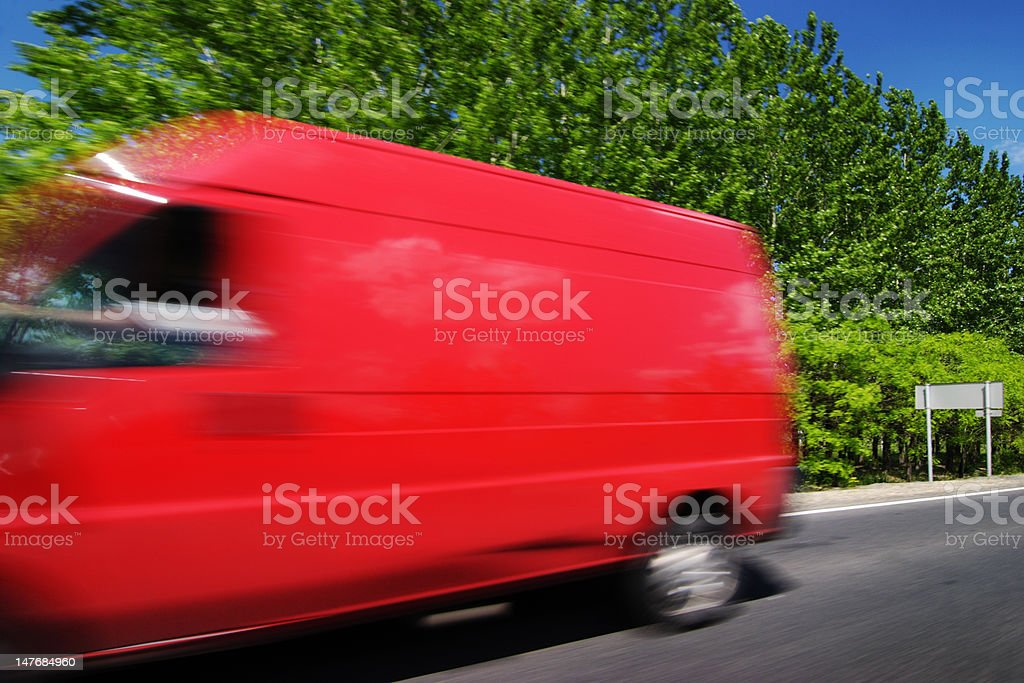 Red logistics delivery truck stock photo