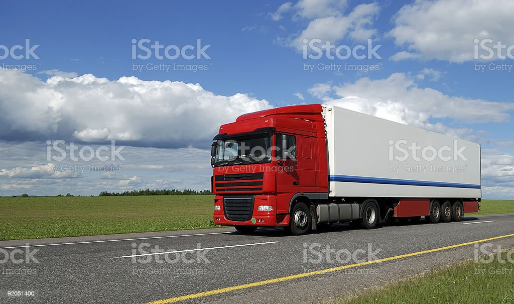 red lorry with white trailer royalty-free stock photo