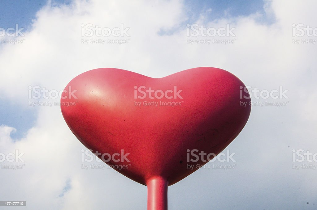 Red love Heart Balloon in Vintage Blue Sky royalty-free stock photo