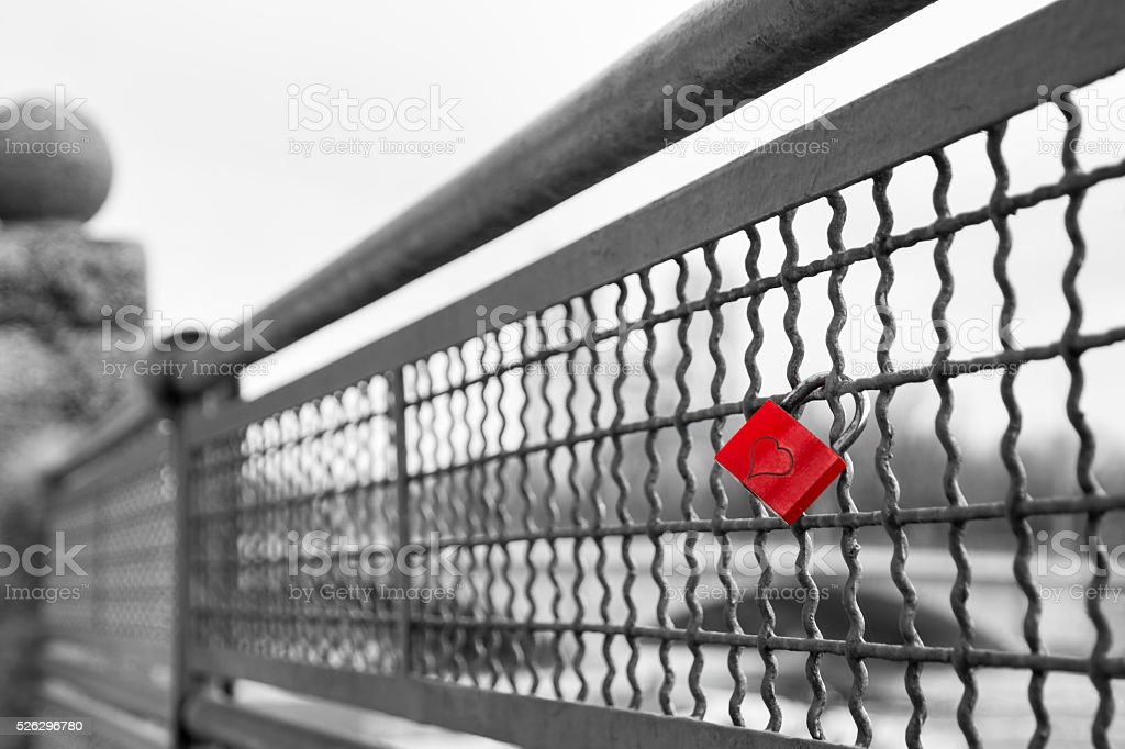 Red love lock padlock with heart symbol of unbreakable love stock photo