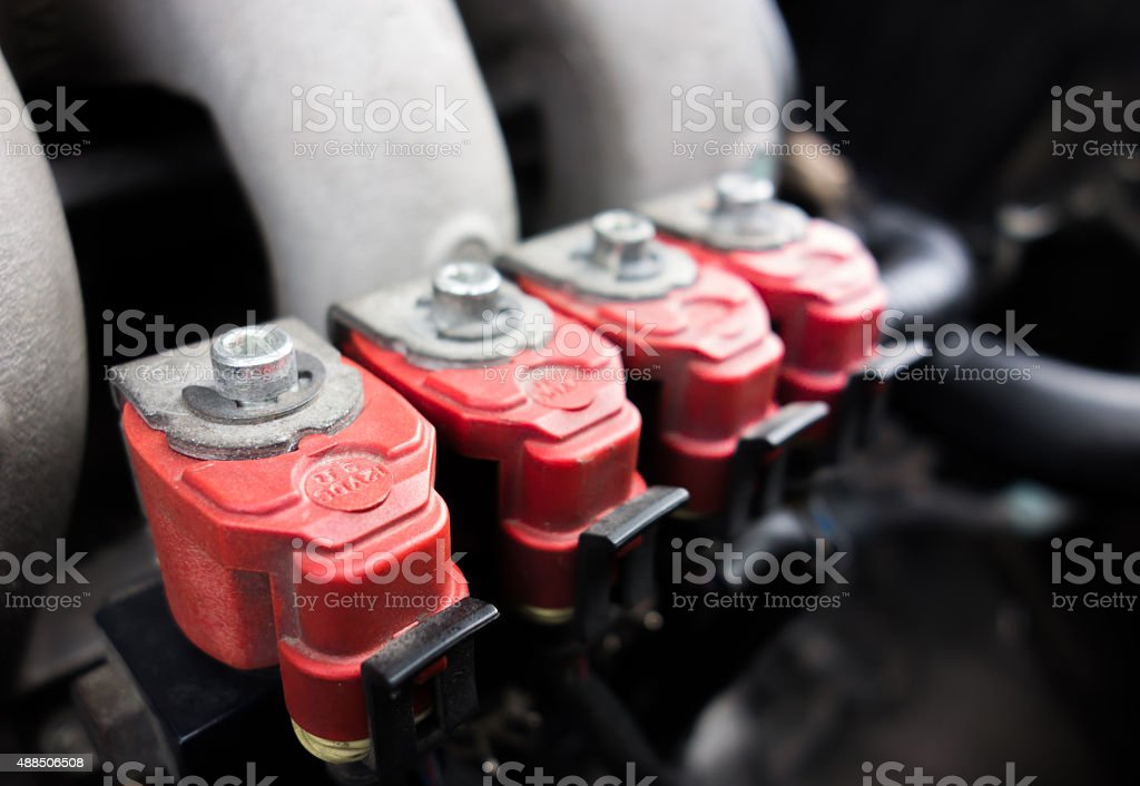 Red LPG injector stock photo