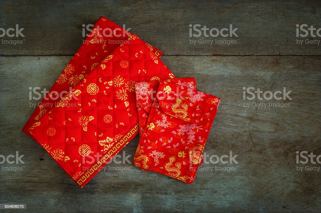 Red Lucky Money Pouches Prepared for a Chinese New Year stock photo