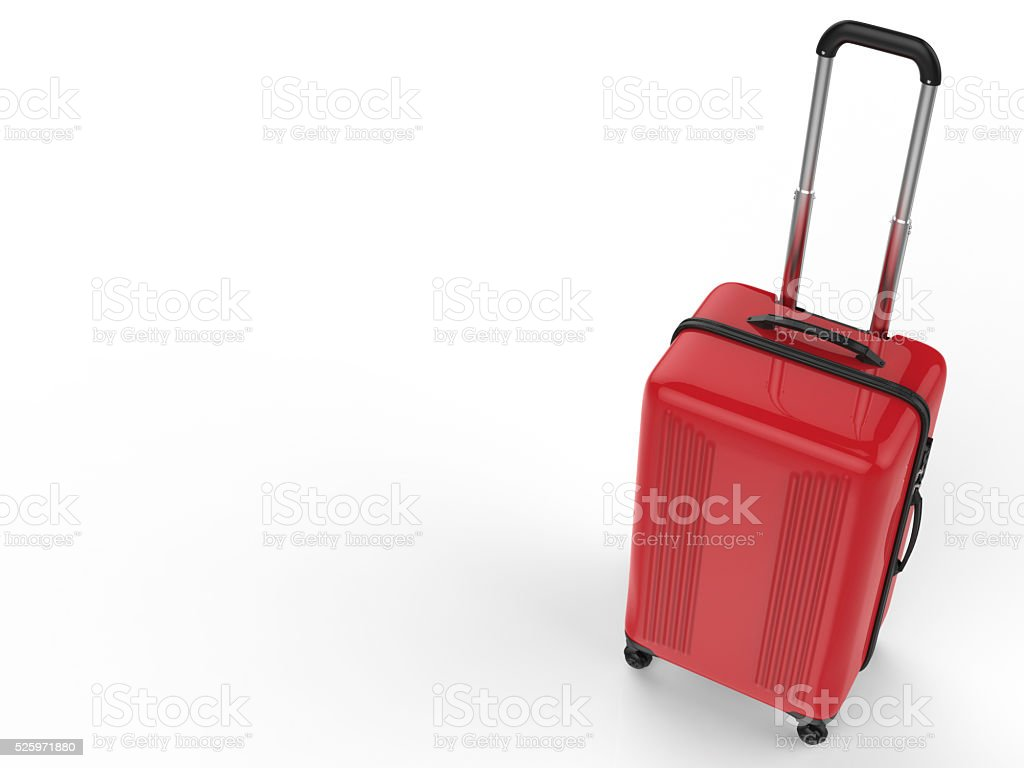 red luggage stock photo