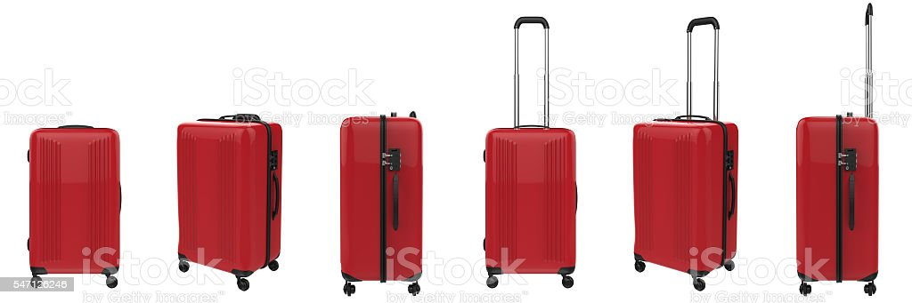 red luggages in a row stock photo