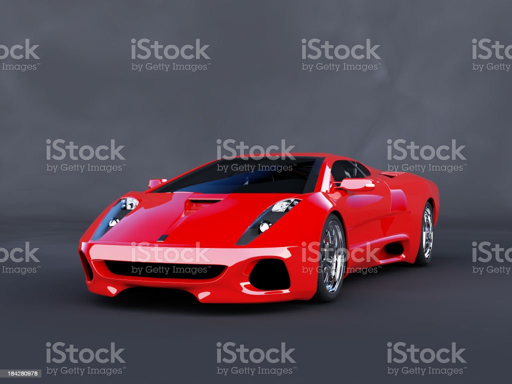 Red luxury car on angle parked on dark background stock photo