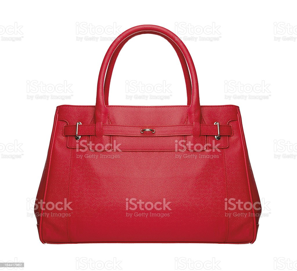Red luxury leather bag on white background stock photo