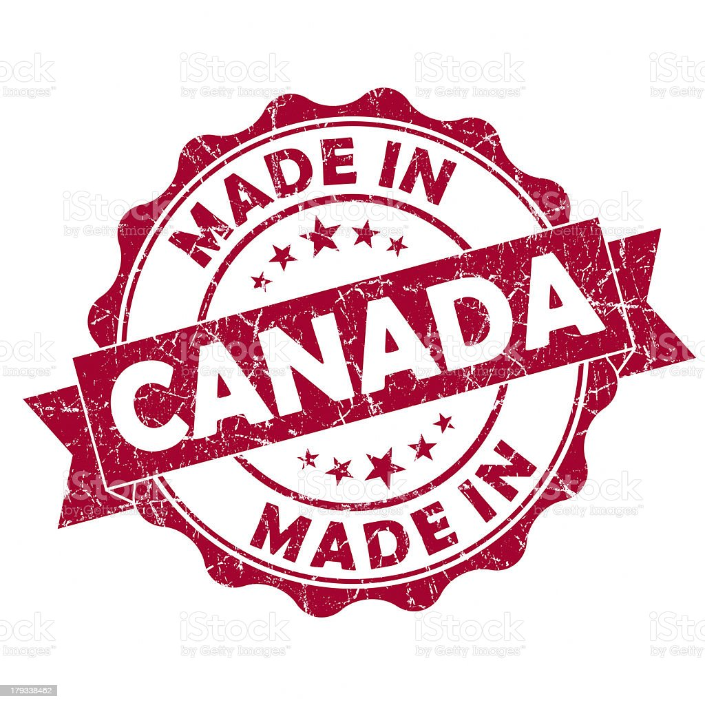 Red Made in Canada stamp isolated on white stock photo