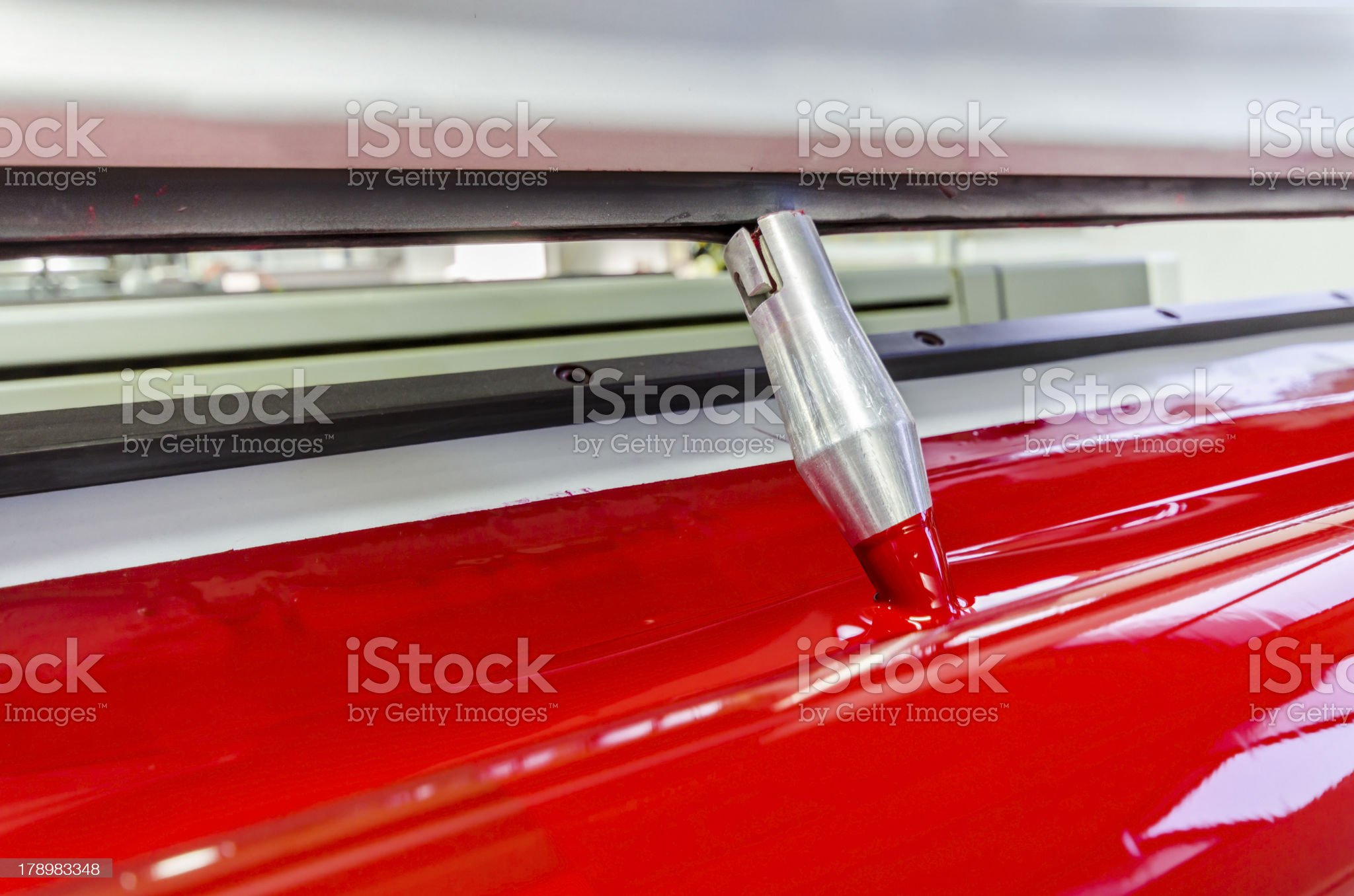 red magenda color ink down at offset printed machine roller royalty-free stock photo