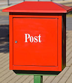 Red mail box on the street