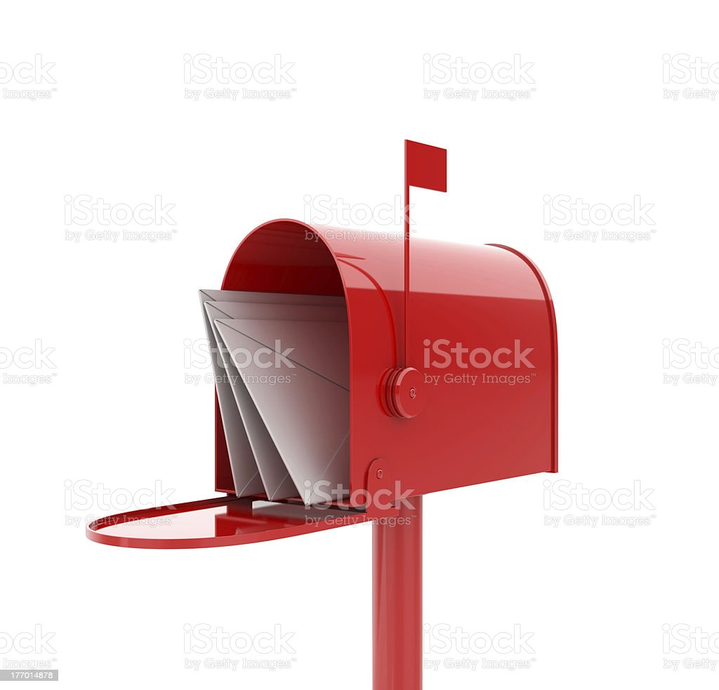 A red mail box with letters inside it stock photo
