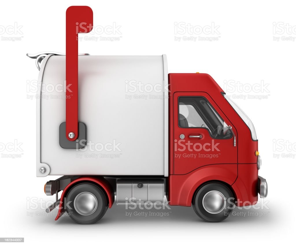 red mailbox delivery van royalty-free stock photo