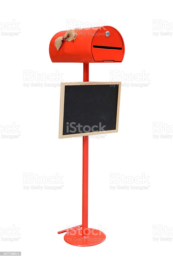 red mailbox isolated on white background stock photo