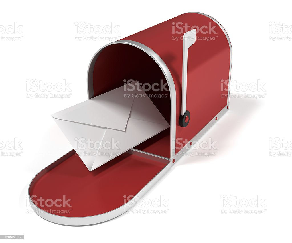 A red mailbox open with one letter royalty-free stock photo
