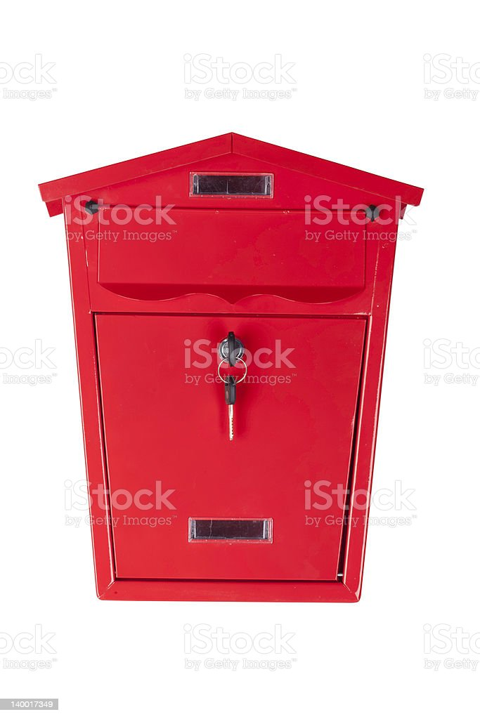 red mailbox (clipping path included) stock photo