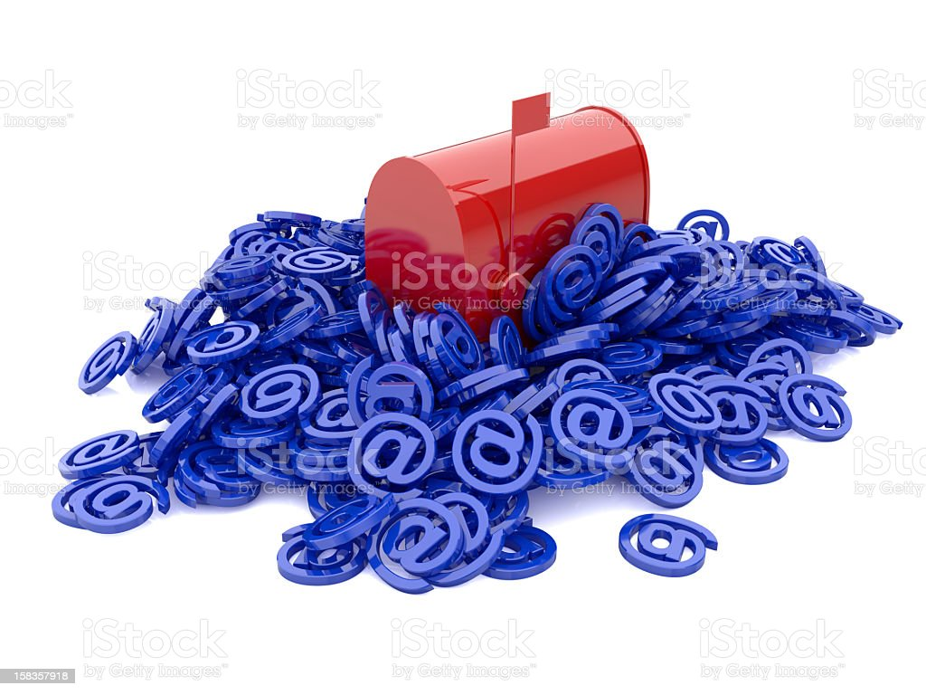 Red Mailbox sitting in pile of @ symbols Spam concept  stock photo