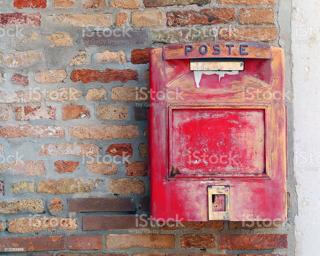 red mailbox where to mail letters and postcards stock photo