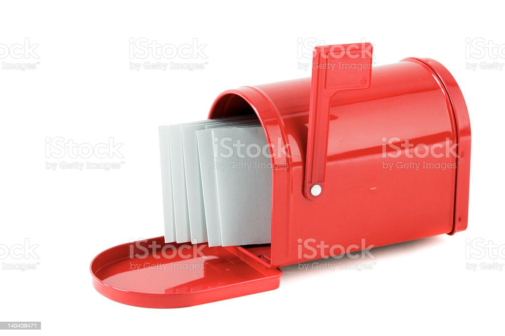 A red mailbox with several letters royalty-free stock photo